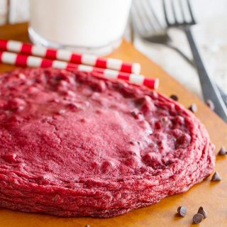 XL Red Velvet Cookie Recipe - one giant cookie loaded with red velvet flavors.