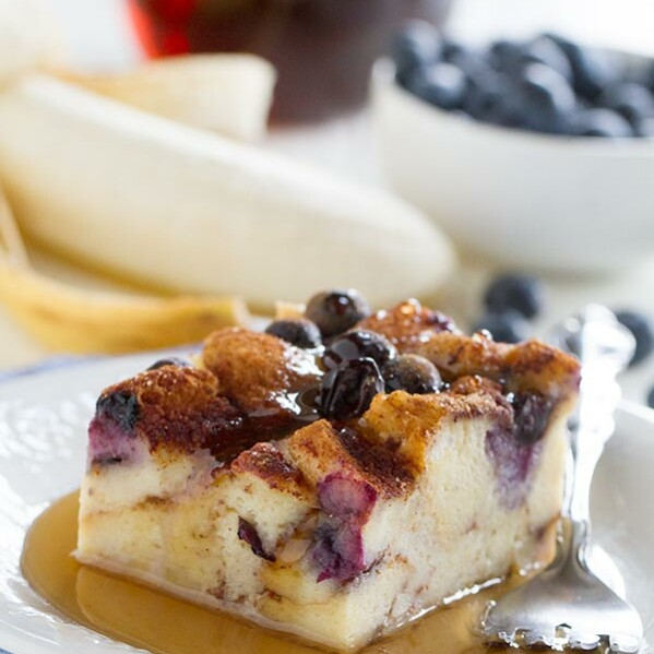 Breakfast worth waking up for! This Blueberry Banana French Toast Bake has fresh bananas and blueberries baked in a fuss-free French toast breakfast that the whole family will go bananas for.