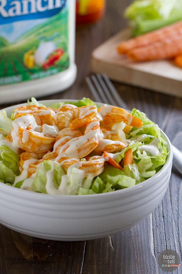 The perfect fast lunch, this Buffalo Ranch Shrimp Salad is spicy and creamy and done in 10 minutes.