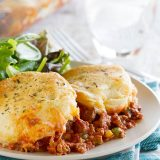 Italian Ground Beef Casserole with Biscuit Topping