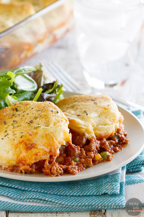 Hearty, filling, and family-friendly, this Italian Ground Beef Casserole with Biscuit Topping is the perfect answer for an easy weeknight dinner.