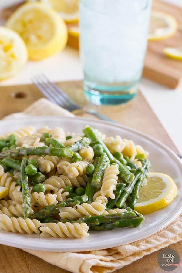 A light citrus flavor brightens this silky cream sauce in this Lemon Cream Sauce Pasta with Asparagus and Peas.
