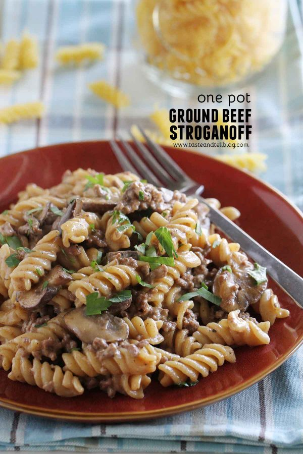 Ground Beef Stroganoff cooked in one pan