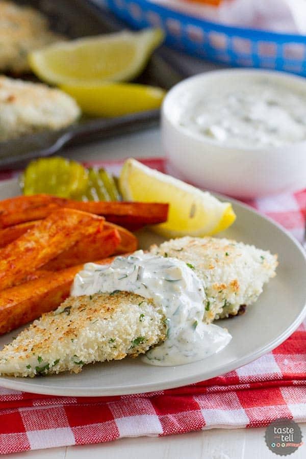 Panko Crusted Tilapia Recipe with Paprika Sweet Potato Fries on www.tasteandtellblog.com