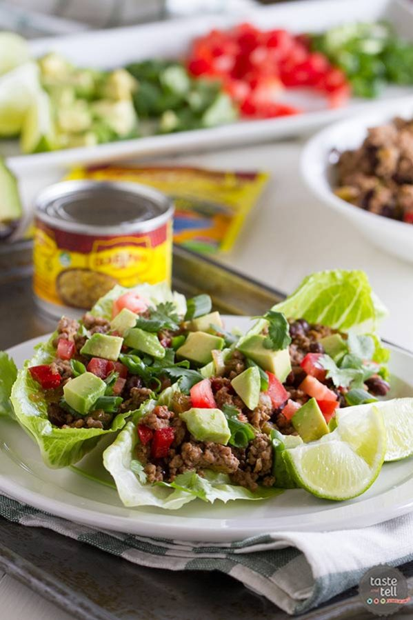 Favorite southwestern flavors are cooked up and served in romaine cups in this Southwestern Lettuce Wrap Recipe.