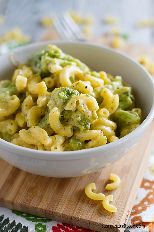 Skip the box – this stovetop mac and cheese recipe is done in 20 minutes and is creamy and filled with vegetables.