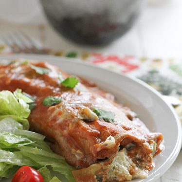 Filling and full of flavor, these Artichoke and Spinach Enchiladas will please both meat eaters and vegetarians!