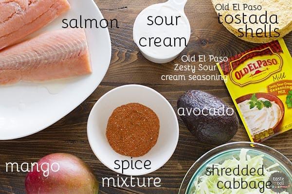 Ingredients for Blackened Salmon Tostadas