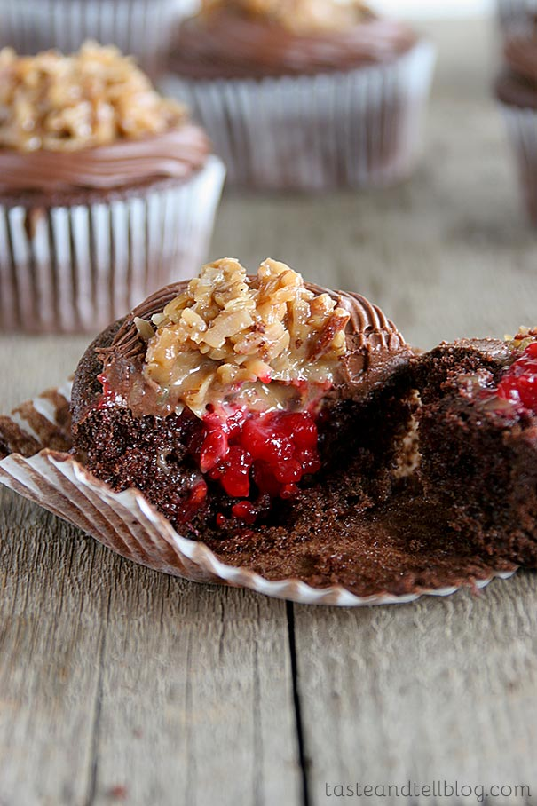 This is not your normal German chocolate cupcake! A chocolate cupcake gets dressed up with chocolate frosting, German chocolate frosting, and a raspberry filling.