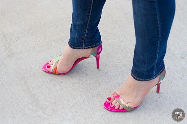 Pink Floral Printed High Heel Sandal from Isaac Mizrahi