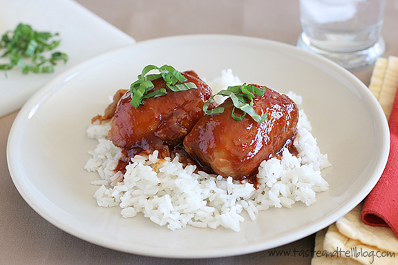 Recipe for chicken thighs in a soy sauce, honey, garlic and sauce made in the slow cooker.