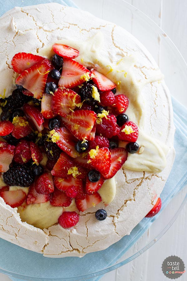 Pavlova Recipe with Creme Anglaise and Fresh Berries