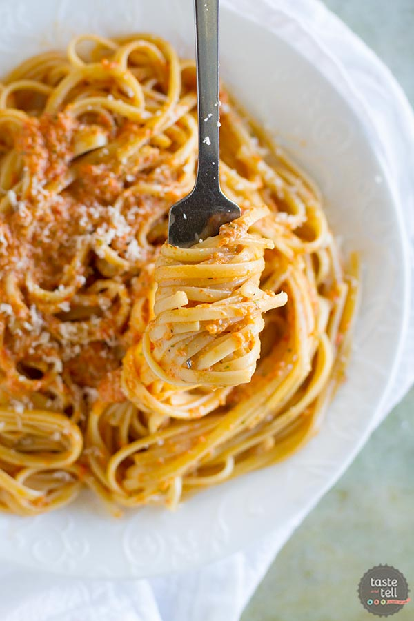 Recipe for Roasted Red Pepper Pesto Linguine, plus a review of Patsy's Italian Family Cookbook