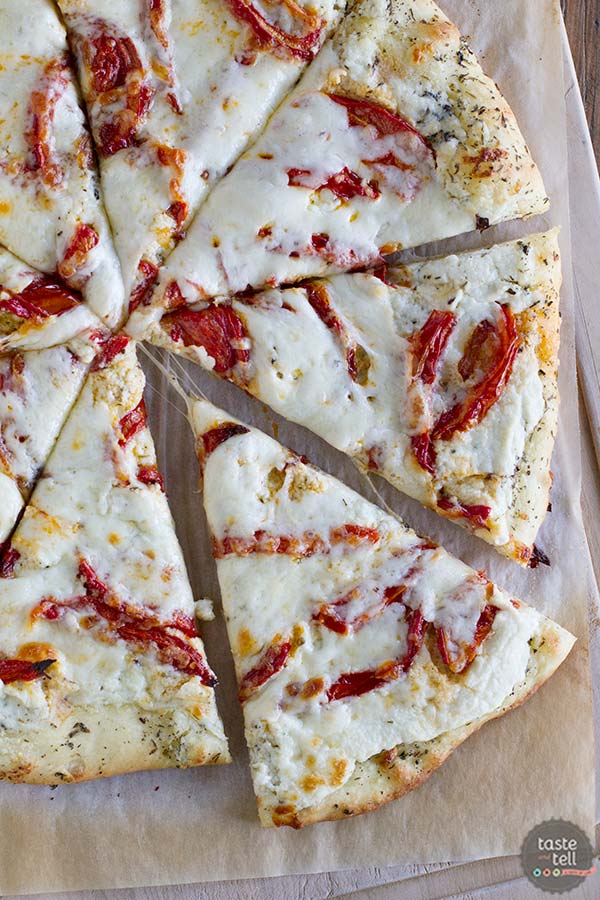 White Pizza Recipe with Roasted Tomatoes on Taste and Tell