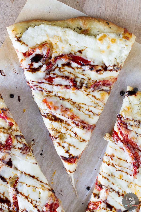 White Pizza Recipe with Roasted Tomatoes and Balsamic Drizzle