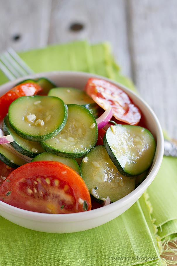 Fresh tomatoes and zucchini shine in this easy salad perfect for a summer side dish in this Zucchini and Tomato Salad Recipe.