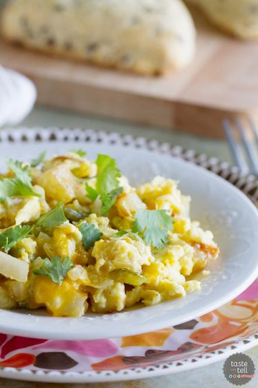 The perfect breakfast for dinner recipe, this Poblano Chile Scramble has eggs and potatoes cooked with freshly roasted chiles. A great taste of the southwest!