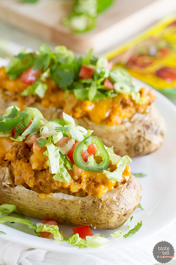 Break away from your normal Taco Tuesday with these Taco Stuffed Potatoes - twice baked potatoes with a southwestern twist!
