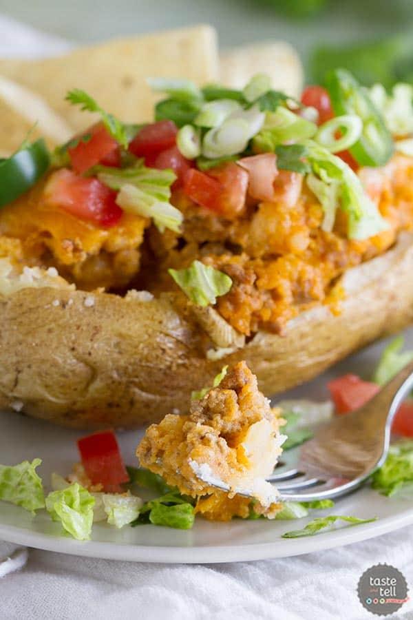 Taco Stuffed Potatoes - Taste and Tell