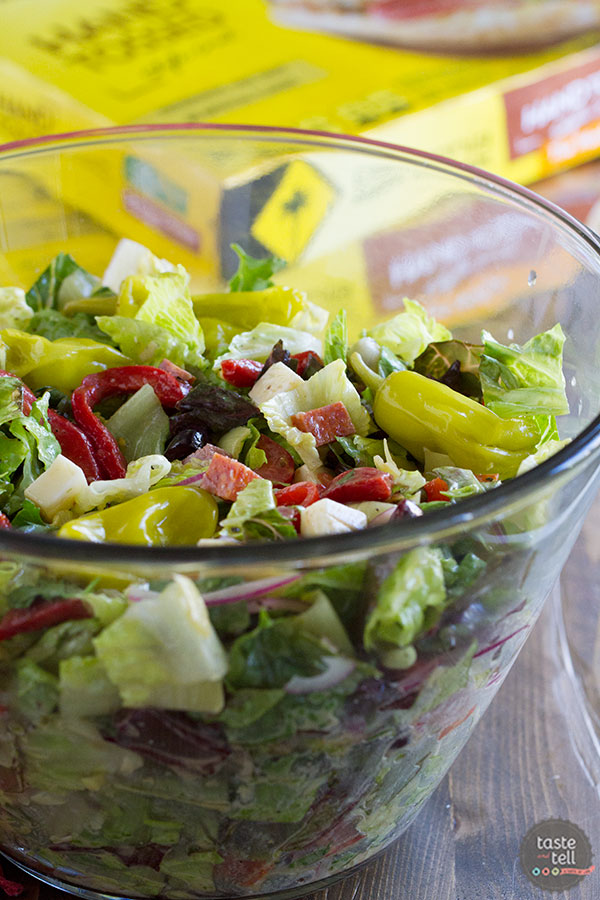 A perfect side dish for pizza night, this Antipasto Salad is filled with all of your favorite antipasto flavors with an easy Italian salad dressing.