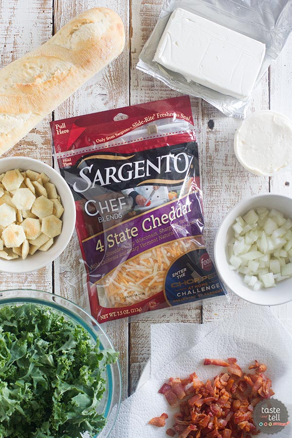 Ingredients for Cheesy Bacon and Kale Crostini Recipe