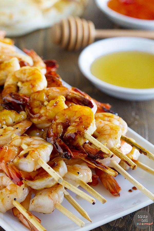 Looking for an easy summer dinner? Try these Chili Honey Garlic Shrimp Kabobs - the perfect recipe for a night at the grill.
