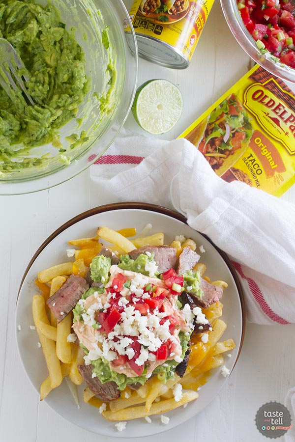 Enchilada Steak Fries - a version of the popular southern California Carne Asada Fries.