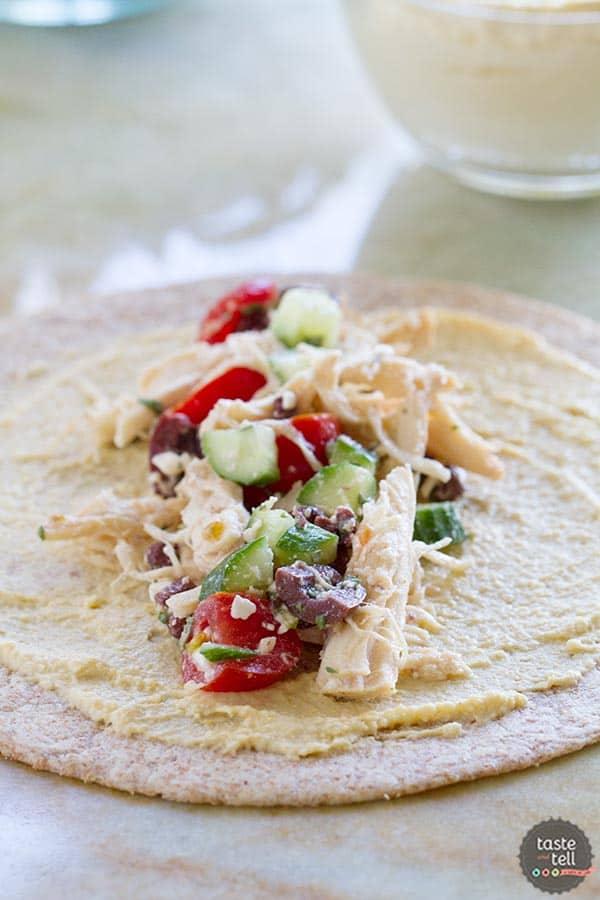 Greek Chicken Wrap Recipe on www.tasteandtellblog.com
