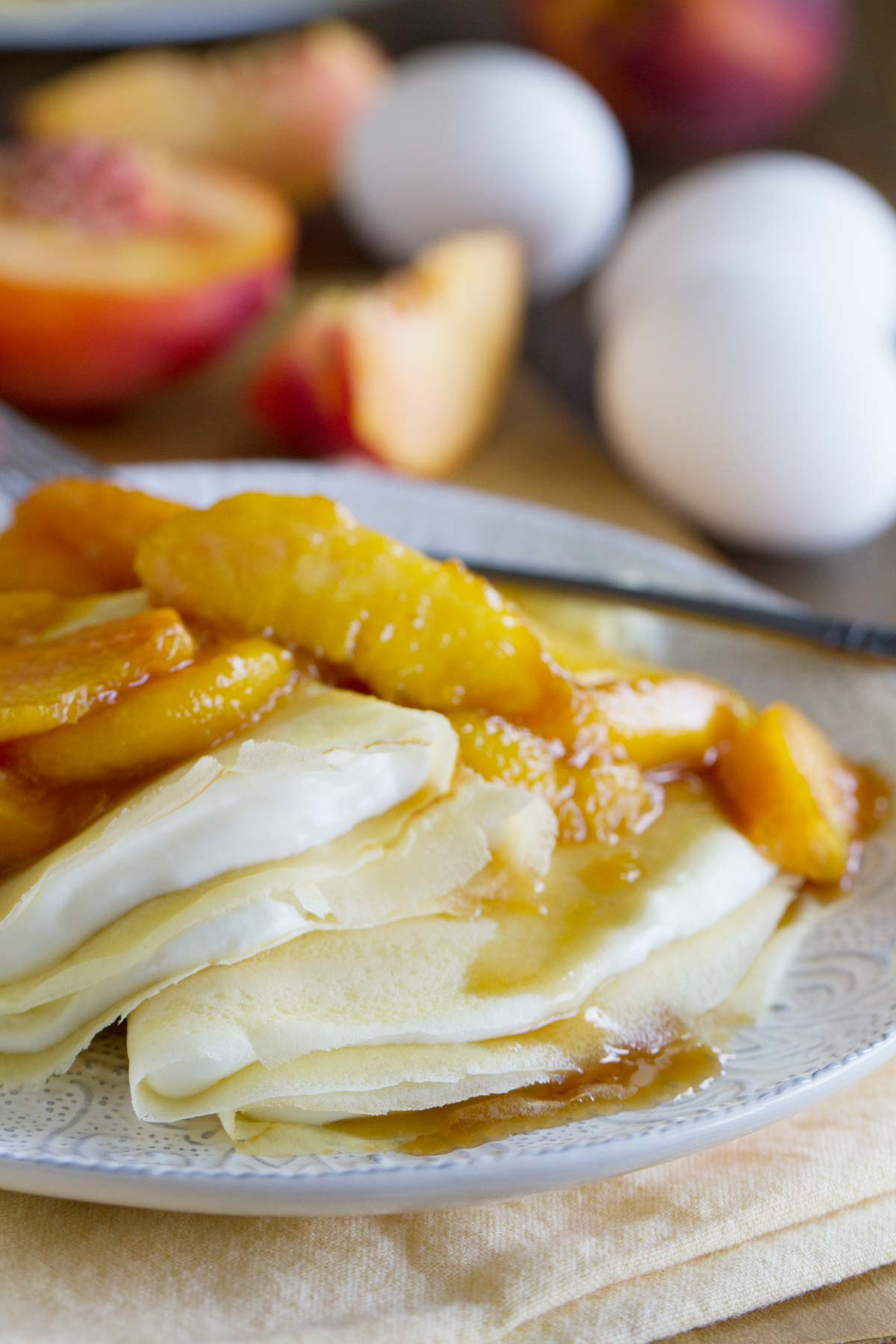 Easy Crepes Recipe with Peaches and Cream - Taste and Tell