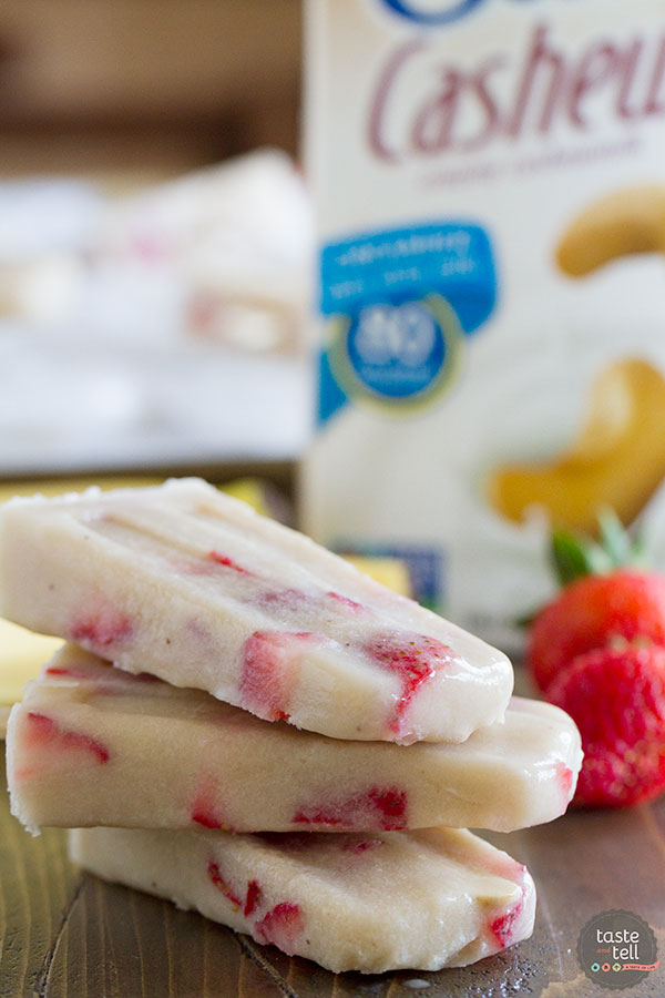 Strawberry Banana Cashew Pops - only 3 ingredients!