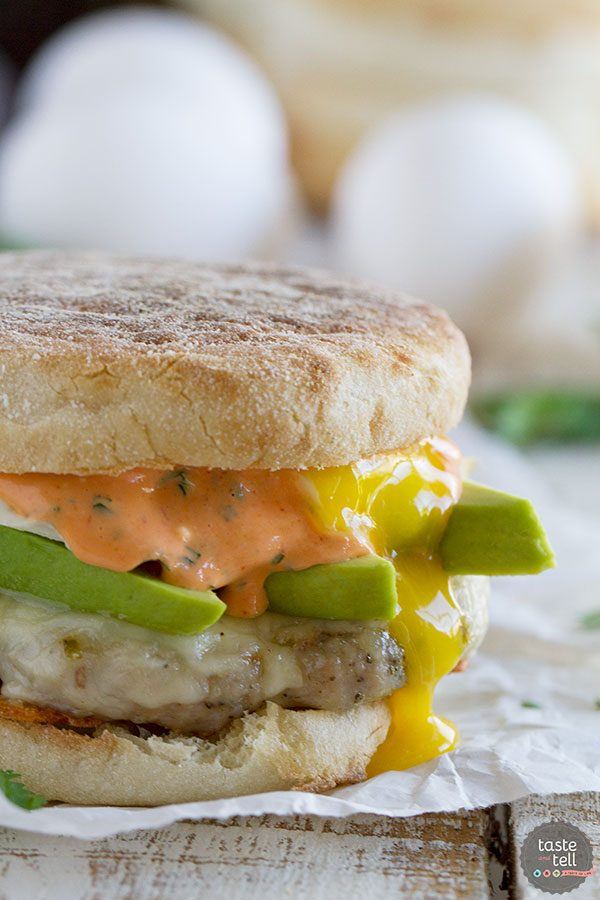 Sausage and Egg Breakfast Sandwich Recipe with Sriracha Cilantro Mayonnaise