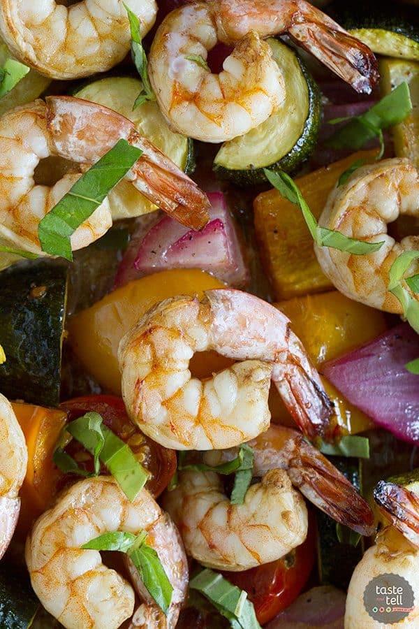 Sheet Pan Balsamic Shrimp and Summer Vegetables | Sheet Pan Suppers Review
