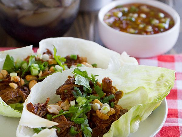 These BBQ Pork Lettuce Cups have pork that is slowly braised in an Asian-inspired bbq sauce, then served on lettuce leaves for a low-carb dinner packed with flavor.