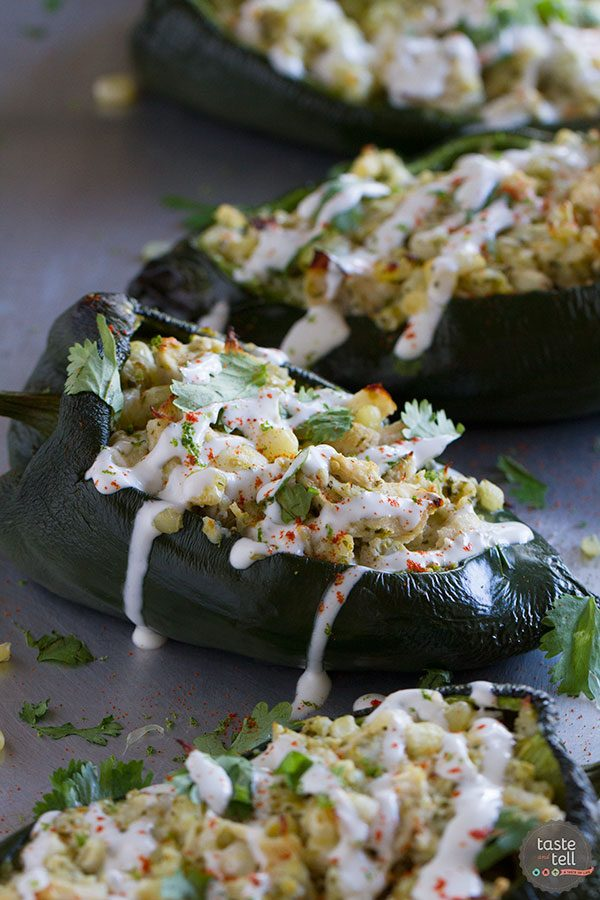 Chicken and Corn Stuffed Chiles