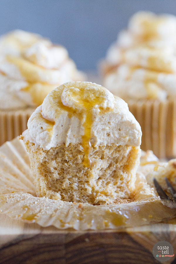 Light as a cloud, these Pumpkin Angel Food Cupcakes are filled with warm pumpkin flavor and topped with a pumpkin spiced whipped cream.
