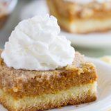 A favorite holiday staple turned into an easy and delicious cake! This Pumpkin Pie Cake has a cake crust with a creamy pumpkin center and a crunchy, spicy topping - a favorite the whole family loves!