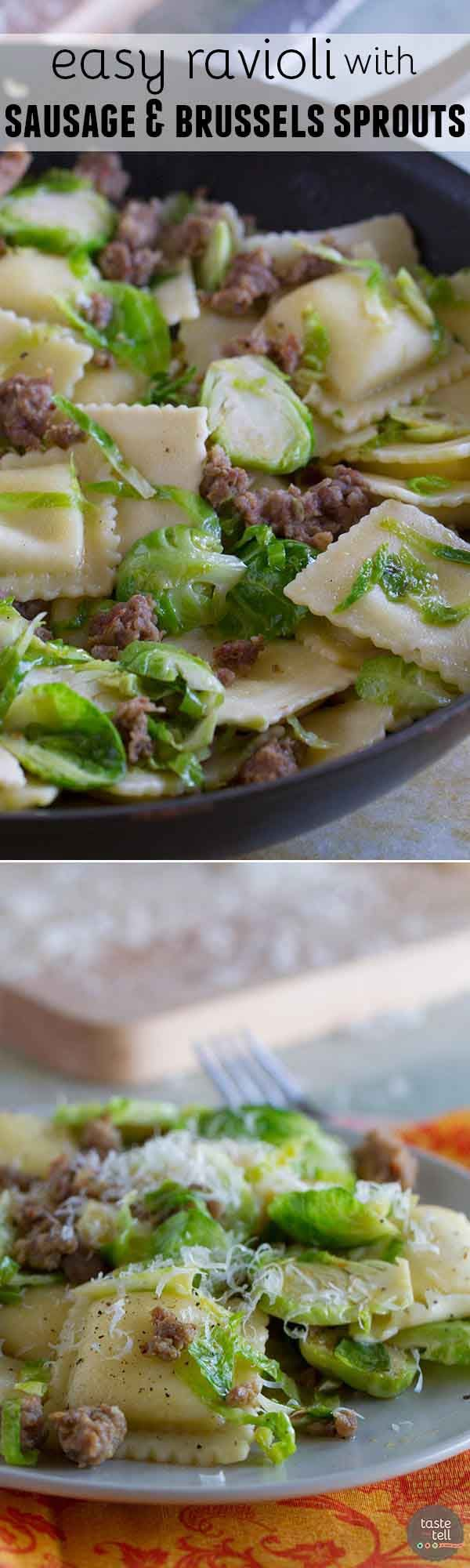 Looking for an easy, fast, dinner with less than 10 ingredient? This Easy Ravioli with Sausage and Brussels Sprouts comes together in well under 30 minutes and is delicious and filling.