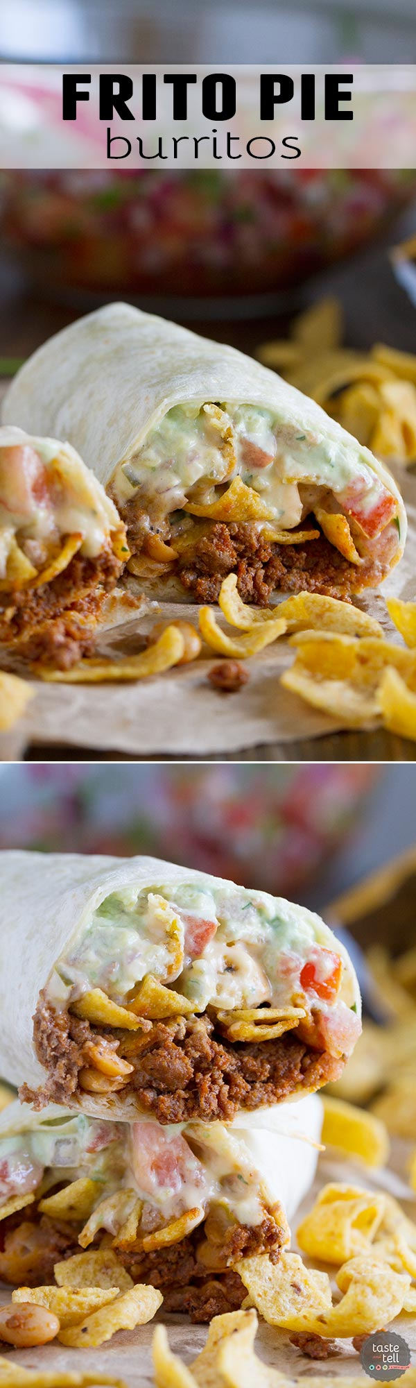 The ultimate Tex-Mex burrito - this Frito Pie Burrito is filled with chili, green chile queso, pico de gallo, avocado cream and jalapenos, all wrapped up in a tortilla.