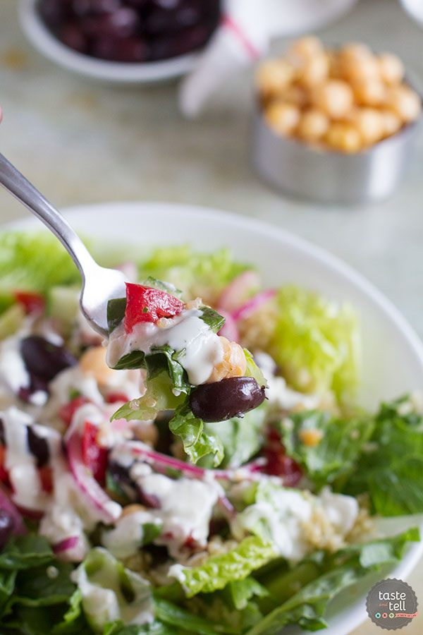 Healthy and full of flavor, this Greek Quinoa Salad is a perfect way to fill up at lunch or for a light dinner.