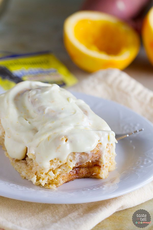 Sweet Potato Cinnamon Rolls with Orange Cream Cheese Frosting