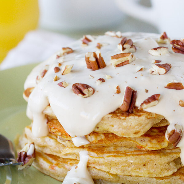 When dessert turns into breakfast, you know I'll be a fan! These Carrot Cake Pancakes are full of all of the best carrot cake flavors and topped with a maple cream cheese syrup.