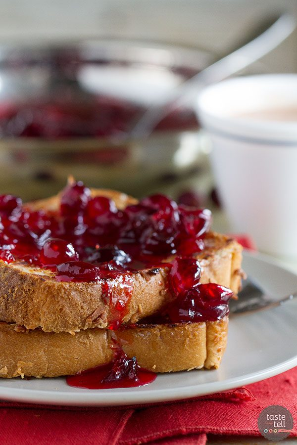 Coconut Crusted Oven Baked French Toast with Cranberry Syrup