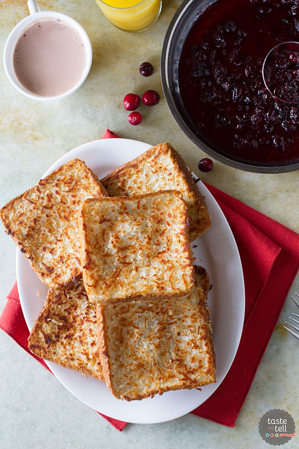 Fancy enough for a holiday, but easy enough for a weekday breakfast, this Coconut Crusted Oven Baked French Toast with Cranberry Syrup is not only stunning, but dairy and egg free as well!