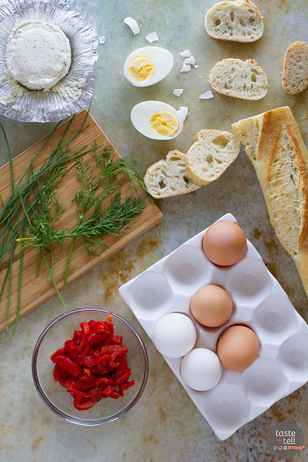 Easy appetizer recipe - Egg and Pepper Crostini Recipe