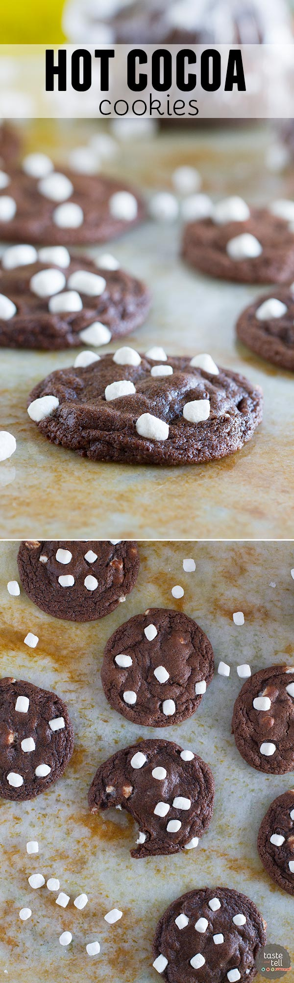 The perfect way to get into the holiday spirit, these Hot Cocoa Cookies combine super chocolaty cookies with mini marshmallows in a soft and chewy cookie.