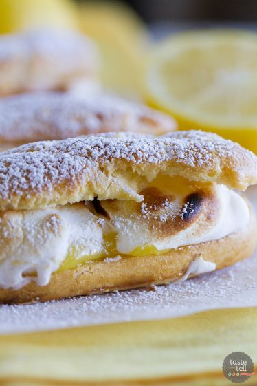 Lemon meringue lovers will go crazy for these Lemon Meringue Eclairs - pate a choux eclair shells filled with lemon curd and then topped with toasted meringue.