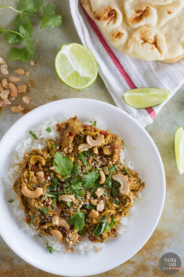 Coconut Curry Chicken is made easy by using cooked rotisserie chicken. This is a great weeknight meal filled with lots of flavor.