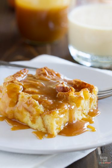 Transform your eggnog into this Eggnog Croissant Bread Pudding with Caramel Eggnog Syrup. Great for a decadent breakfast, or as a special dessert, this bread pudding is melt in your mouth delicious!