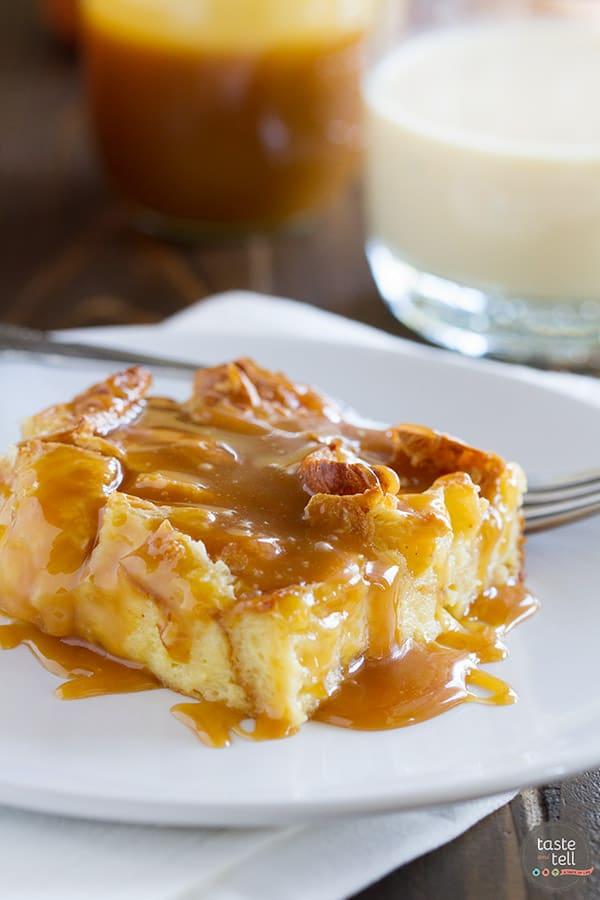 Eggnog Croissant Bread Pudding with Caramel Eggnog Syrup ...