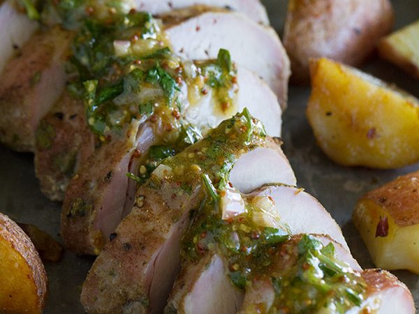 A great make ahead meal, this Roasted Pork Tenderloin and Potatoes with Mustard Sauce can be prepped the day before, and all you have to do is roast on the day of!